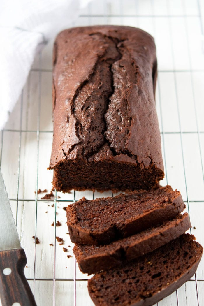 overhead photo of sliced Chocolate Yogurt Loaf Cake