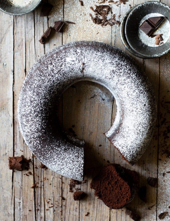 overhead photo of a chocolate cake