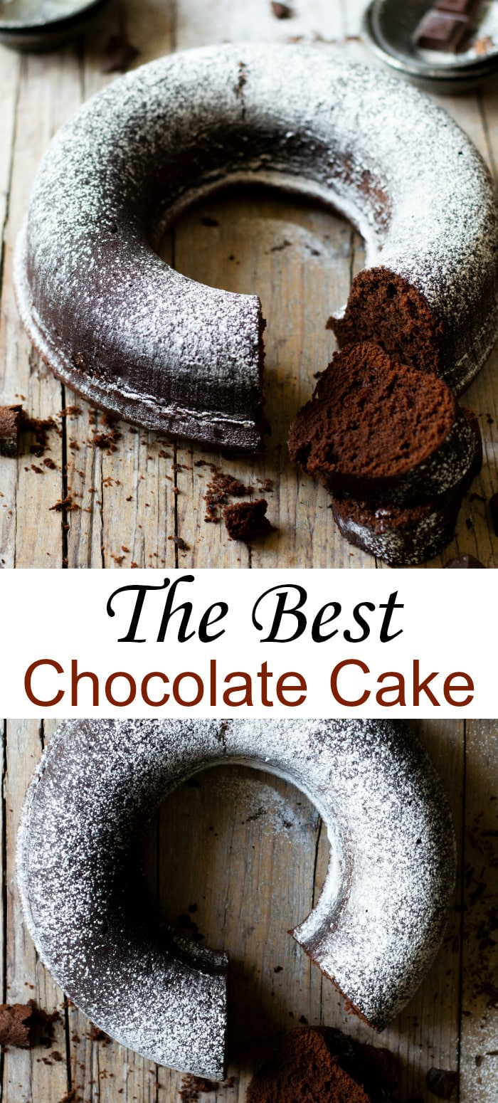 The Best Chocolate Cake. This sour cream chocolate bundt cake has a deep rich chocolate flavor and very tender and moist crumb.