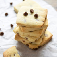 photo of a stack of chocolate chip shortbread