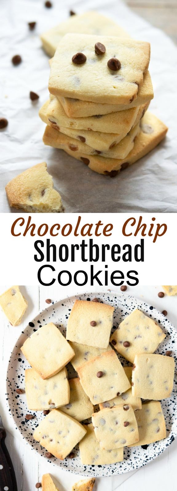 Chocolate Chip Shortbread Cookies. Crunchy, buttery, melt-in-your-mouth cookies. These cookies keep well and are perfect for gifting or with an afternoon cup of coffee or tea.