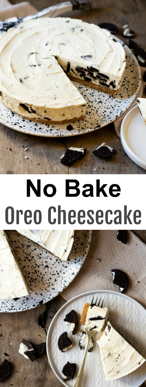 No Bake Oreo Cheesecake. Rich, creamy, just like a regular cheesecake! This cookies and cream flavored cheesecake is eggless and no bake!