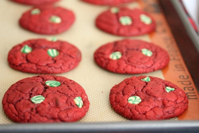 photo of red velvet cookies on a baking sheet