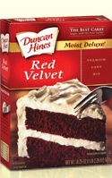 photo of a box of Duncan Hines Red Velvet Cake Mix