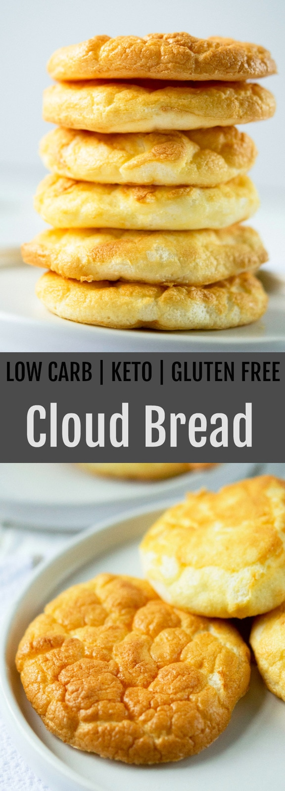 Low Carb Cloud Bread. This fluffy, cloud-like bread is just 4 ingredients. It is also low carb, gluten free, grain free and keto friendly.