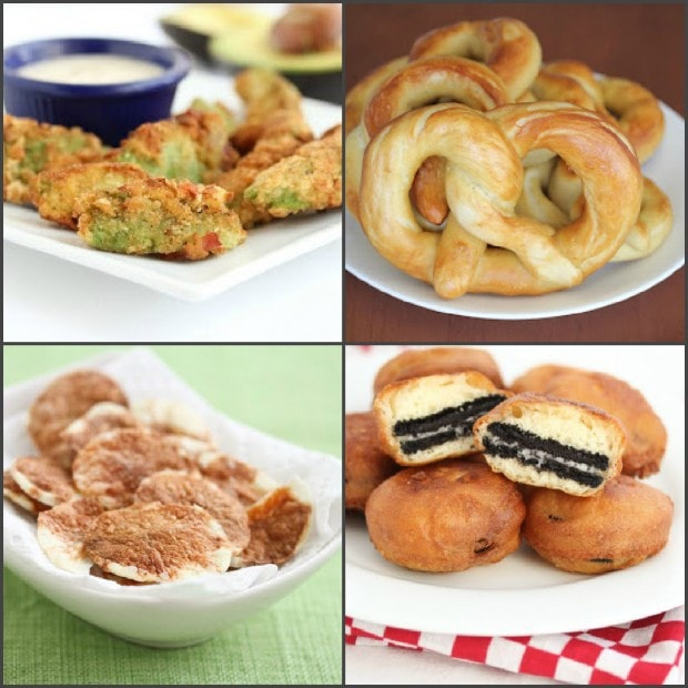 photo collage of fair food dishes