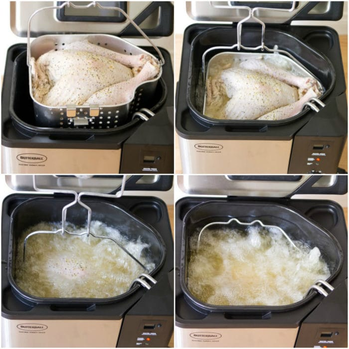 photo collage showing steps to put the turkey in the fryer