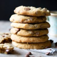photo of a stack of chocolate chip cookies