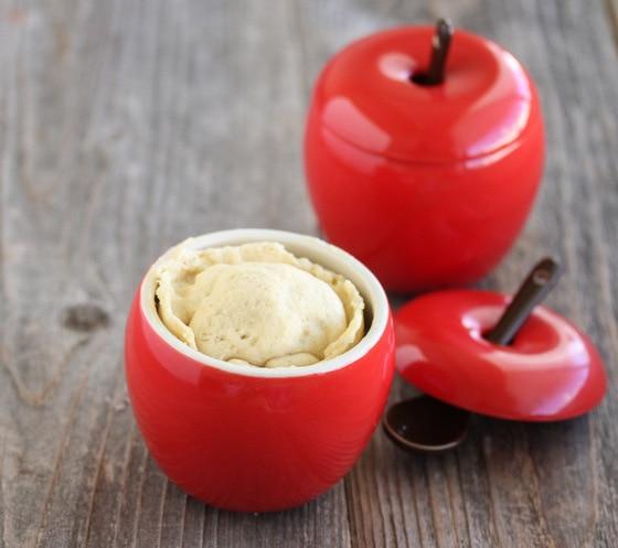 close-up photo of an apple mug cake