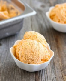 photo of a bowl of thai tea ice cream