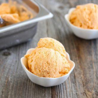 photo of a bowl of thai tea ice cream