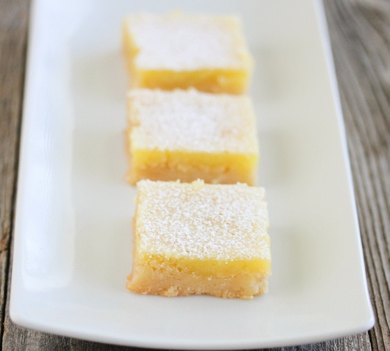 close-up photo of three lemon bars