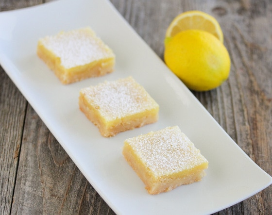photo of three lemon bars on a plate