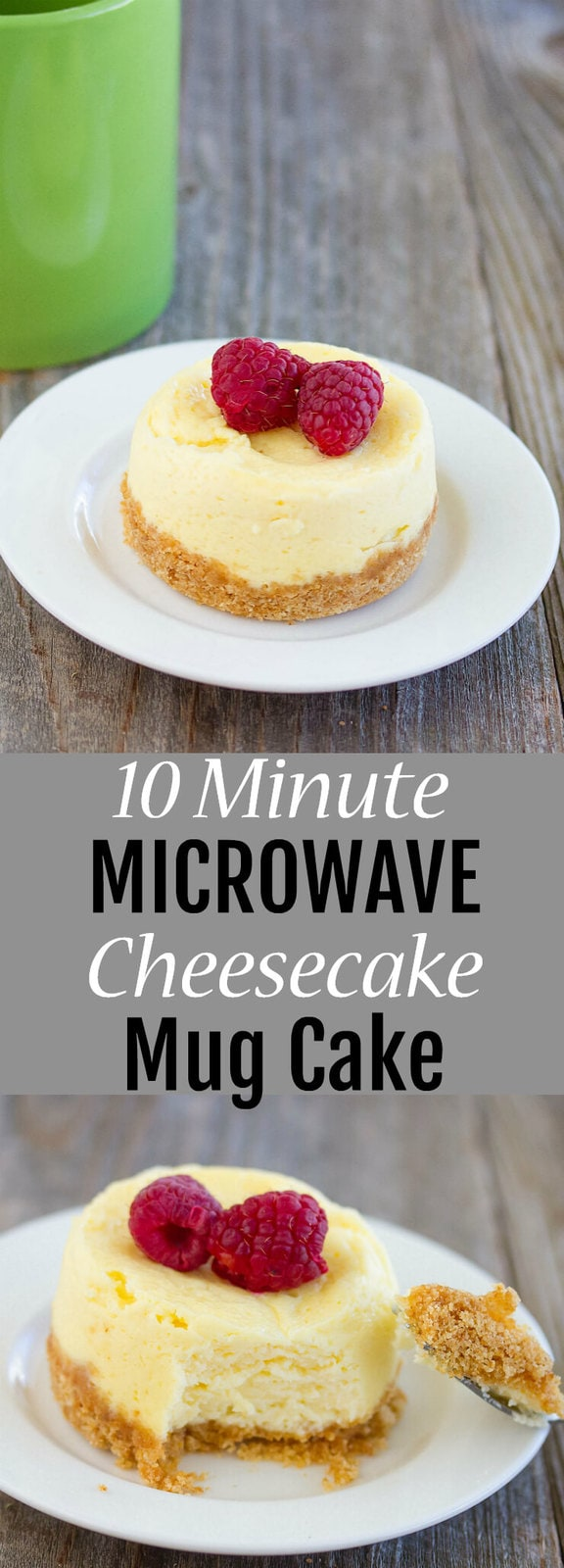 10 Minute Microwave Cheesecake Mug Cake. A quick and easy single serving cheesecake fix!