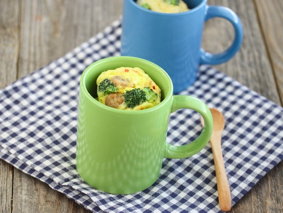 photo of omelette in a mug