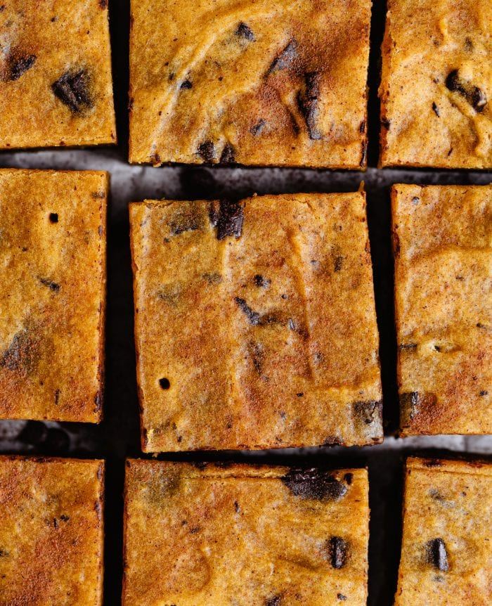 overhead view of pumpkin chocolate chip bars
