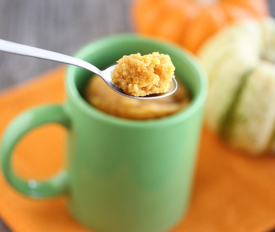 close-up photo of a spoonful of Pumpkin Cinnamon Mug Cake