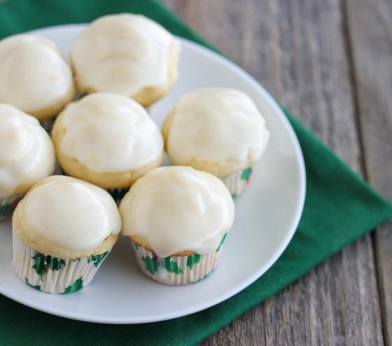 close-up photo of Mini Eggnog Muffins on a plate