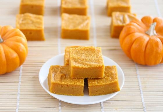a stack of pumpkin mochi