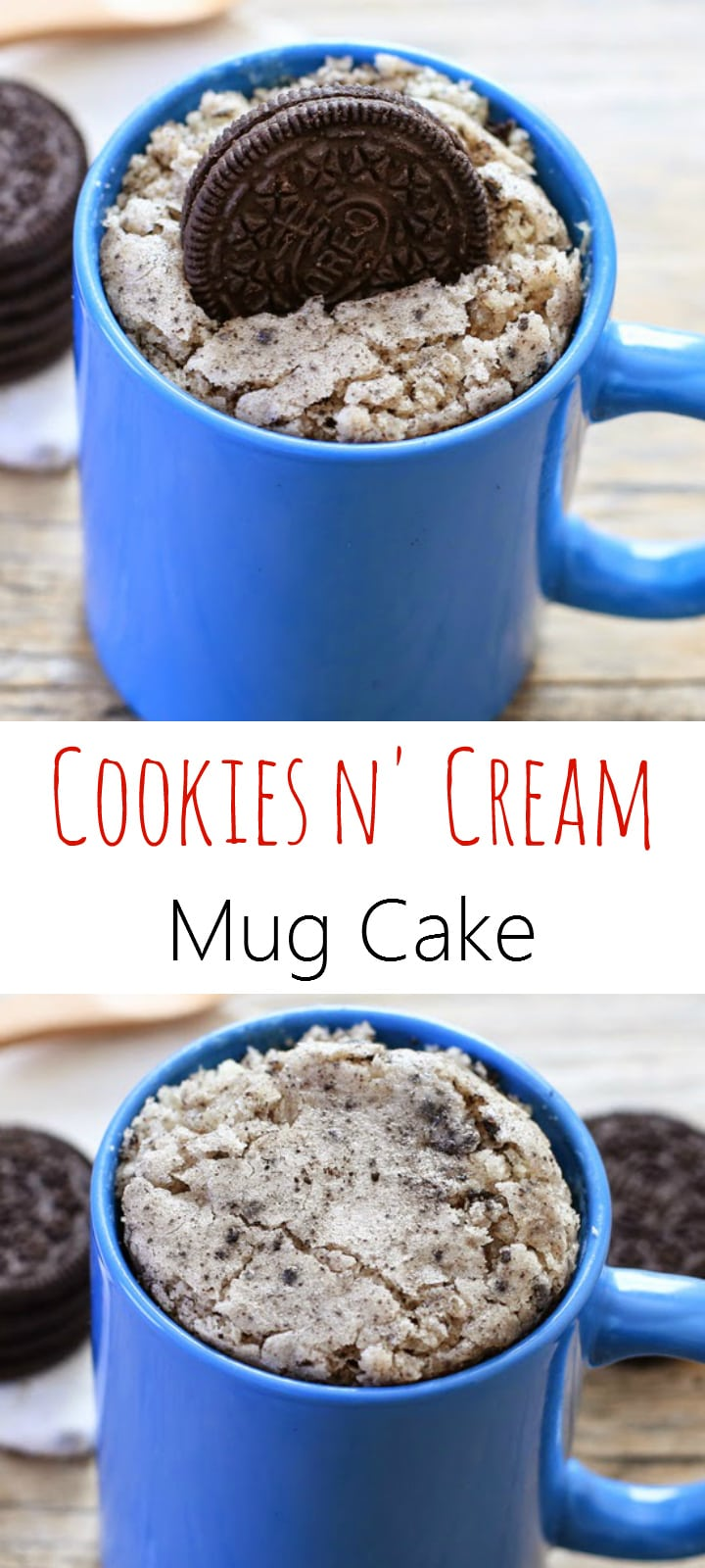 Cookies and Cream Oreo Mug Cake. Single serving cake that cooks in the microwave.