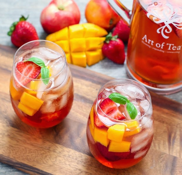 photo of glasses of iced tea sangria