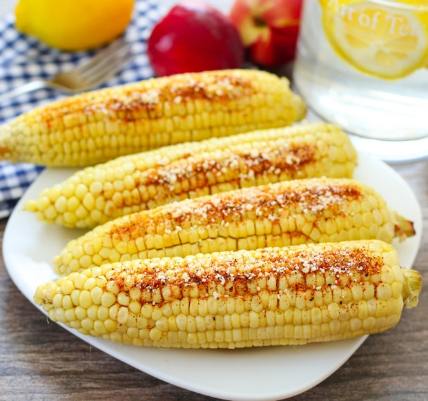 close-up photo of parmesan chipotle corn on the cob