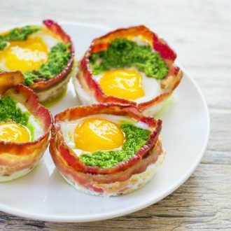 photo of green eggs and ham pesto bacon cups