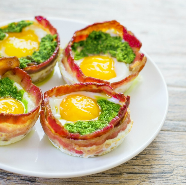 photo of a four Green Eggs and Ham Cups on a white plate