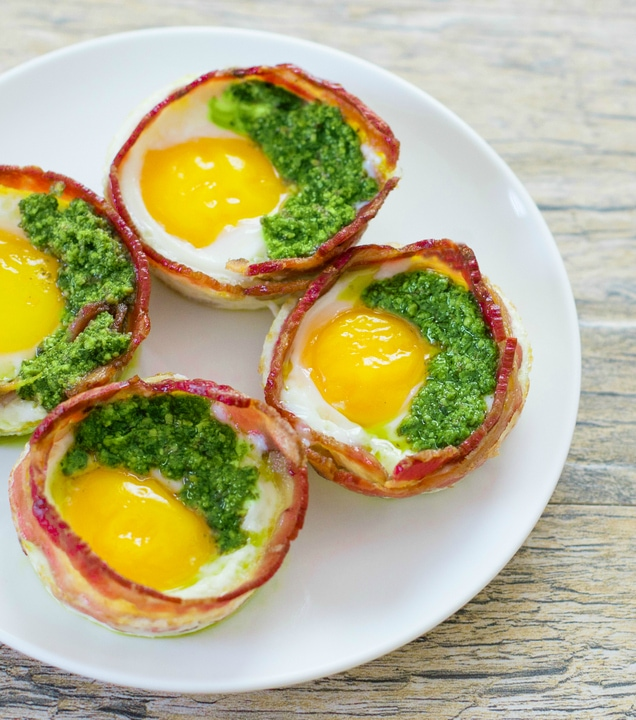 overhead photo of four Green Eggs and Ham Cups on a plate