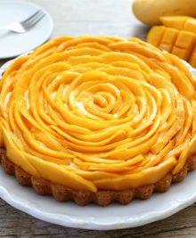 photo of a mango mousse tart