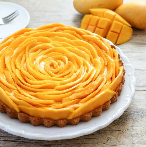 close-up photo of mango mousse tart