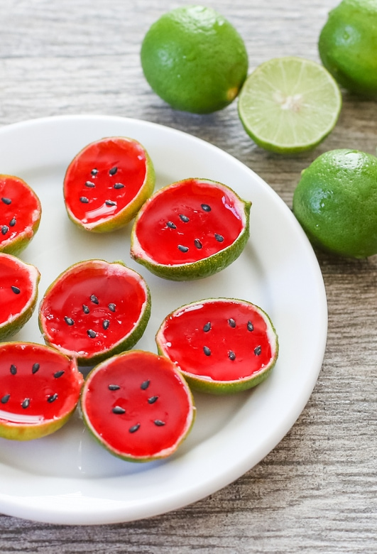 Watermelon Tequila Jello Shots on a plate