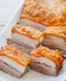 crispy golden pork belly slices