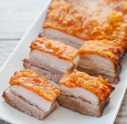 crispy golden pork belly slices