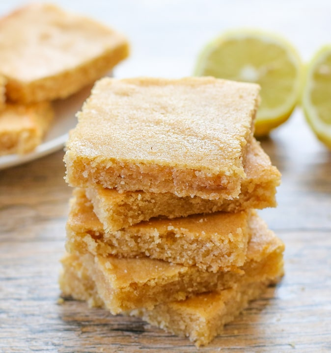 close-up photo of a stack of lemon blondies