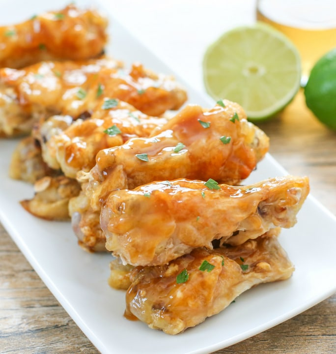 photo of plate of Crispy Baked Chicken Wings with Tequila glaze