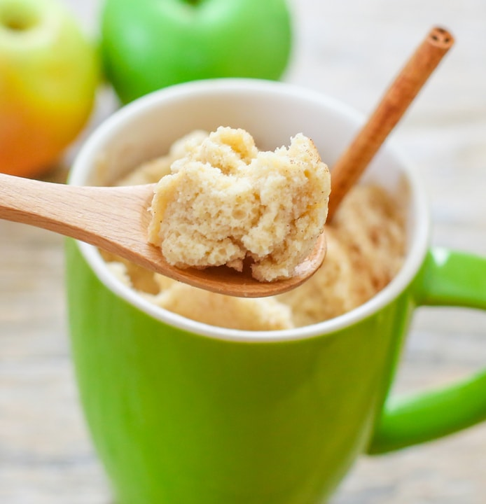 close-up photo of a spoonful of Skinny Apple Spice Mug Cake
