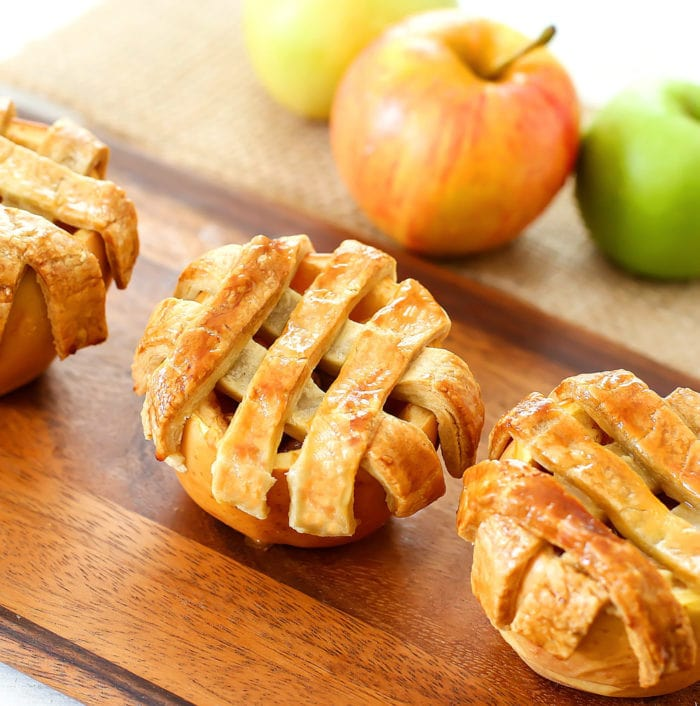 overhead photo of Apple Pies Baked in Apples