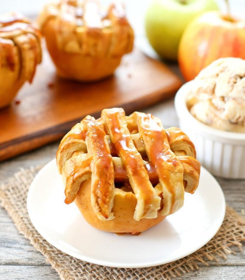 photo of one Apple Pie Baked in an Apple