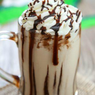 close-up photo of a baileys milkshake