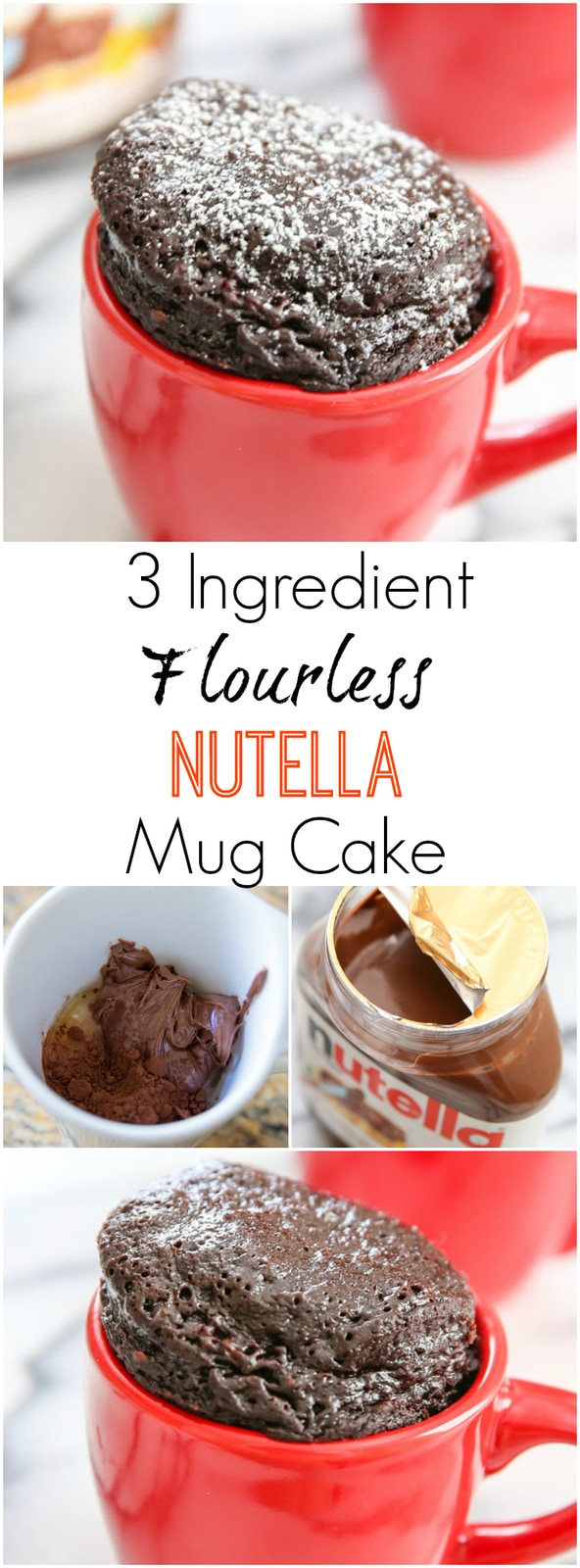 3 Ingredient Flourless Nutella Mug Cake. Super easy, gluten free, single serving, rich and decadent microwave dessert.