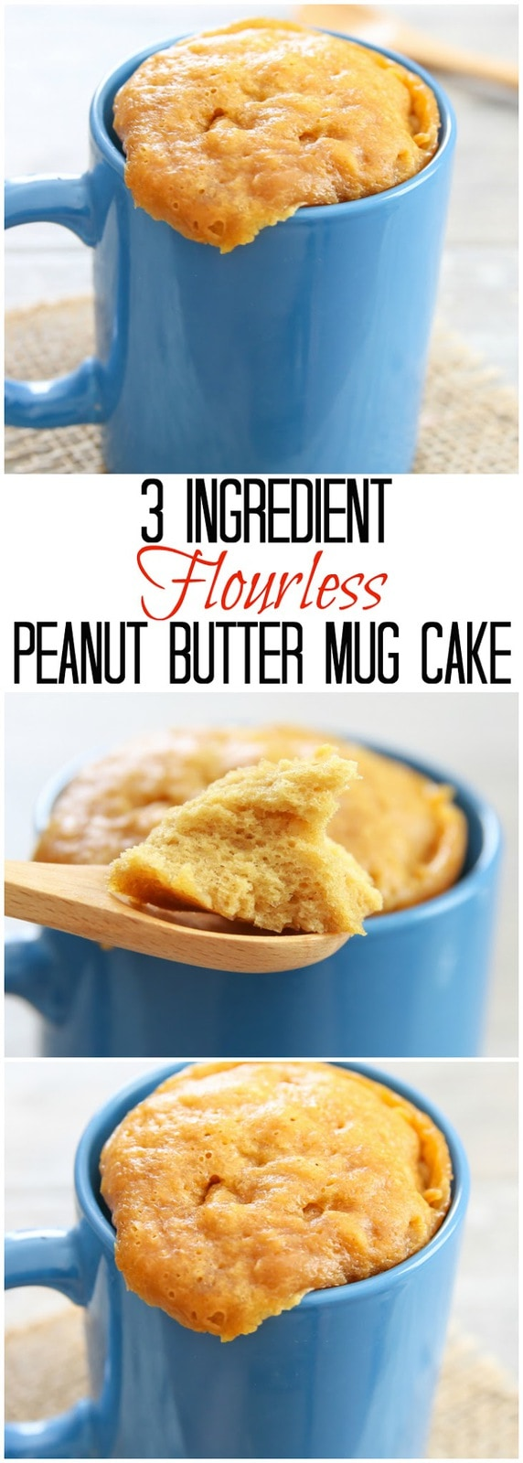 3 Ingredient Flourless Peanut Butter Mug Cake. Easy and ready in 5 minutes and you won't believe it is flourless and gluten-free!