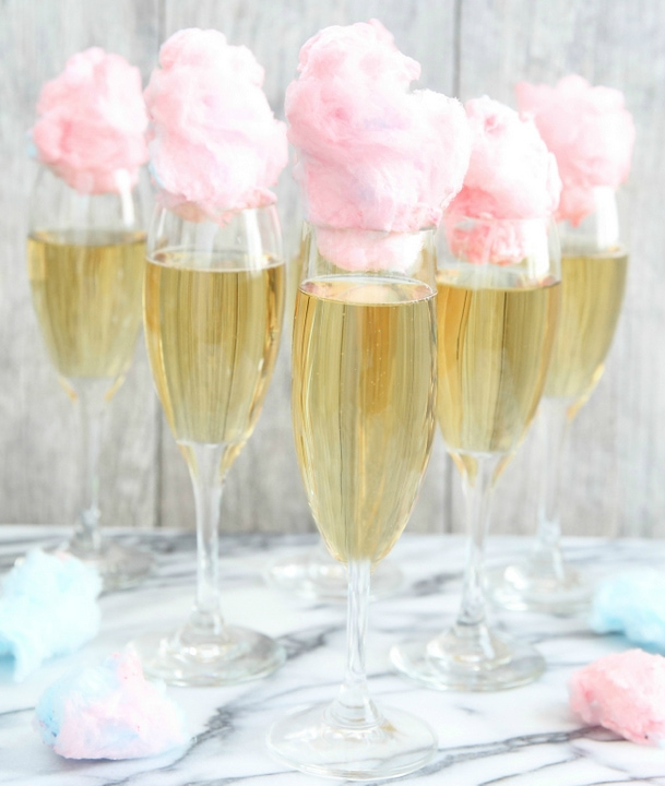Cotton Candy Champagne Cocktail