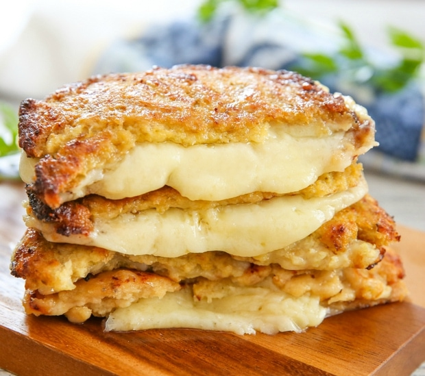 Cauliflower Crusted Grilled Cheese Sandwiches - Kirbie's Cravings