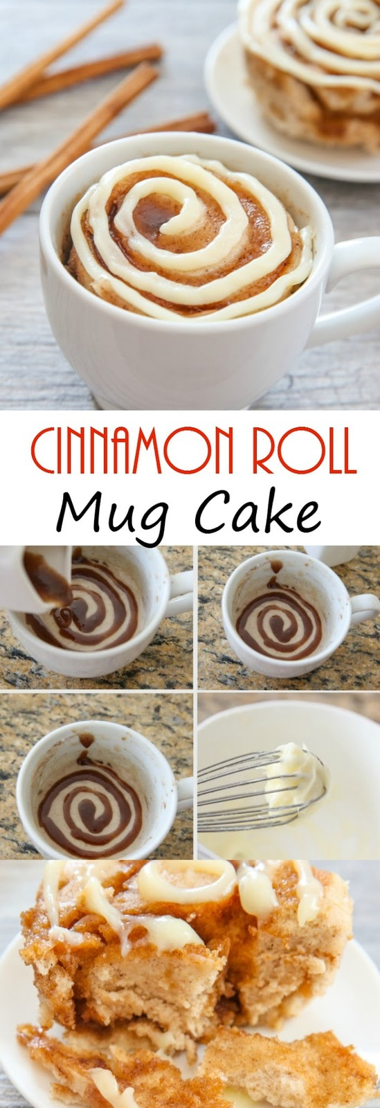 Cinnamon Roll Mug Cake. A fun, single serving microwave cake.