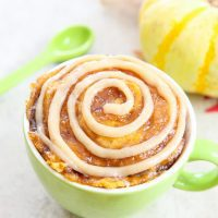 photo of a pumpkin cinnamon swirl mug cake