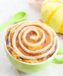 photo of a pumpkin cinnamon swirl mug cake