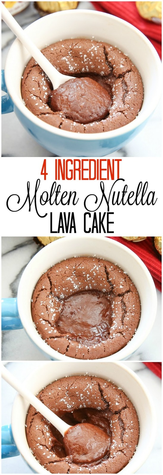4 Ingredient Molten Nutella Lava Mug Cake. This single serving baked cake is just 4 ingredients. So easy and eggless!
