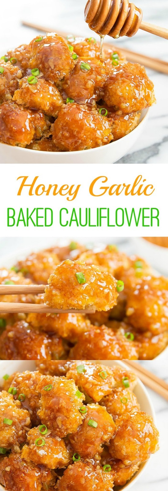 Honey Garlic Baked Cauliflower. Crunchy baked breaded cauliflower pieces are coated with honey garlic sauce. A great vegetarian option!