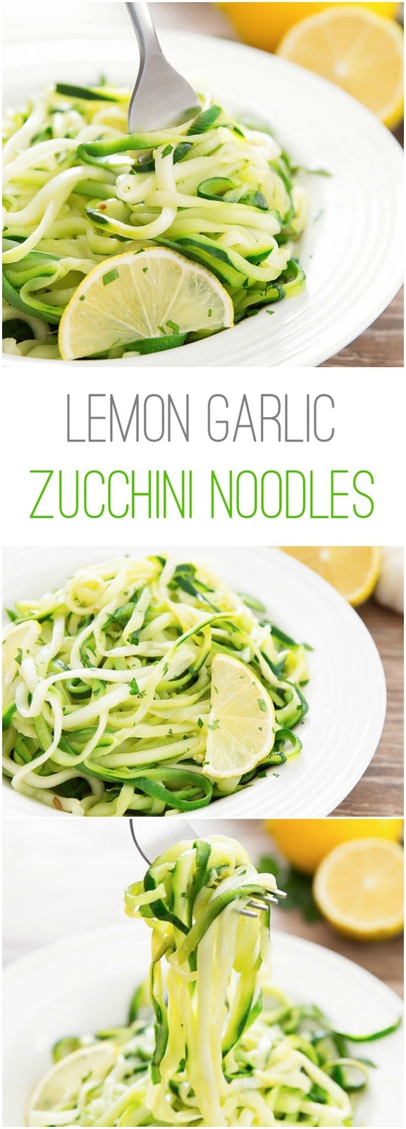Lemon Garlic Zucchini Noodles. A light, low carb, easy dish.